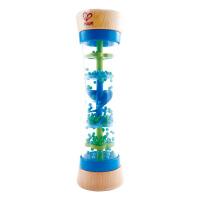Hape雨声安抚沙漏蓝色12个月以上宝宝多功能益智早教木质儿童玩具婴幼玩具摇铃床铃安抚E0328