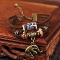 陶瓷首饰 原创高温窑变手链 皮绳 时尚手链礼物