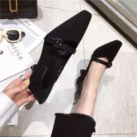 时尚简约气质皮带扣装饰女生浅口尖头细跟百搭新款女鞋
