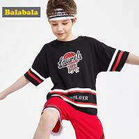 【1件7折价:55.93】巴拉巴拉男童t恤新款夏装儿童短袖中大童童装复古休闲上衣棉