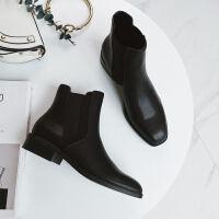 切尔西靴短靴英伦复古加绒马丁靴女秋冬女靴2018新款低跟平底方头