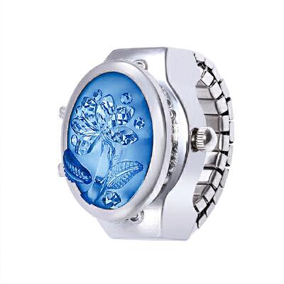 戒指表女学生手表新款3D立体玫瑰花宝石翻盖 椭圆手指表