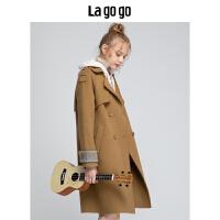 Lagogo/拉谷谷2019年冬季新款时尚女优雅简约毛呢大衣HCDD31YQ41
