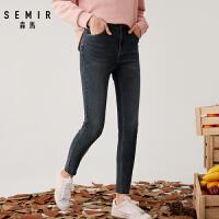 森马2019冬季新款韩版高腰修身显瘦九分牛仔裤女个性弹力小脚裤子