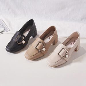 ZHR2019春季新款韩版浅口单鞋复古皮鞋女粗跟休闲鞋百搭网红女鞋
