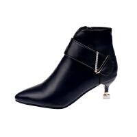 2019秋款女纯色平底细跟欧美显瘦女靴 低筒中跟尖头侧拉链时装靴 黑色