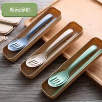 小麦纤维餐具套装叉勺筷子便携式旅行用餐具颜色随机
