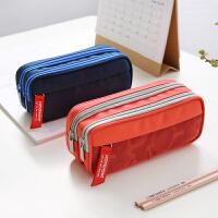双拉链笔袋创意多功能大容量学习收纳袋铅笔袋文具盒