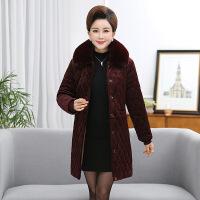 羽绒服中年女冬装新款加厚外套妈妈装大码中长款金丝绒服