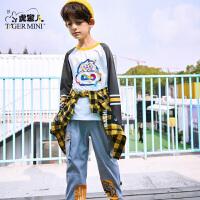 【2件3折:41.7元】小虎宝儿大圣国潮男童长袖t恤纯棉2021春季款儿童韩版潮