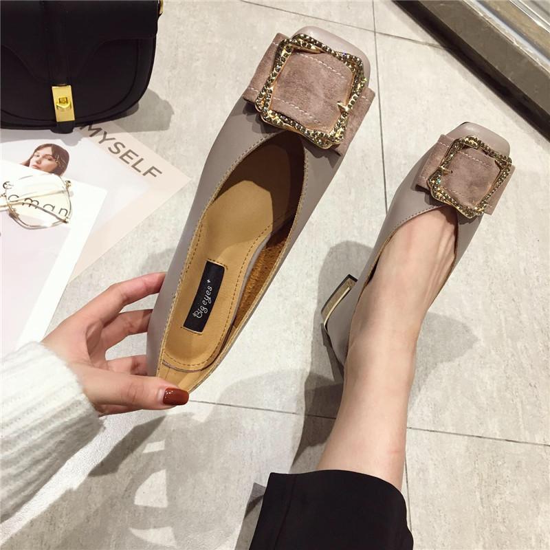 2019春季新款韩版百搭时尚水钻方扣复古方头浅口百搭低跟单鞋女鞋