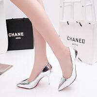 韩版尖头漆皮浅口女版单鞋子百搭细跟女鞋中跟高跟鞋5-7厘米皮鞋