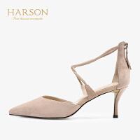 【 立减120】哈森2019夏季新款中空交叉带包头凉鞋女 通勤百搭细高跟鞋HM96415