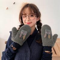 手套女冬可爱防风加绒加厚保暖骑车韩版学生连指ins日系羊羔绒