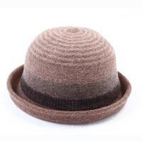 毛呢圆顶翻卷边 户外运动 时尚小礼帽女士英伦圆帽