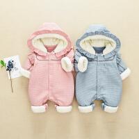网红婴幼儿冬装0一1岁男女宝宝连体衣服外出抱婴服新生儿秋季