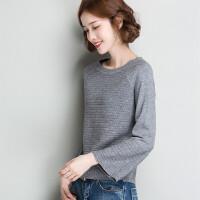 打底衫女秋冬新款时尚纯色短款套头毛衣女打底衫喇叭袖针织衫女