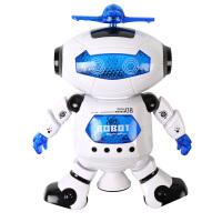 太空跳舞电动机器人360度智能旋转灯光音乐玩具劲风炫舞者送儿童玩具 送3节5号