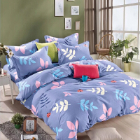 床上四件套棉网红简约欧式柔条纹加厚被套床单双人1.8米4 Y 天蓝色 爱在春天
