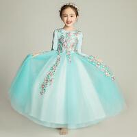儿童晚礼服公主裙女童婚纱裙长袖花童钢琴演出服