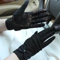 新款遮阳蝴蝶结手套 防晒 短款蕾丝防滑开车手套 女
