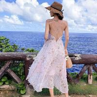 吊带长裙沙滩裙超仙普吉岛泰国海边度假露背连衣裙仙女裙chic温柔 粉色