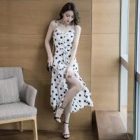 2019夏季新款女装波点吊带连衣裙泰国沙滩海边度假不规则开叉长裙 图片色