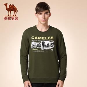 骆驼男装 冬装新品青年套头直筒圆领青春日常休闲长袖卫衣男