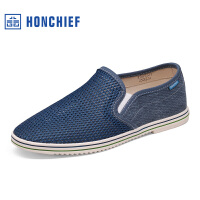 红蜻蜓旗下品牌HONCHIE春季休闲男鞋新款简约网面舒适男士休闲布鞋