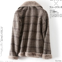 皮毛一体毛毛外套女2018冬装新款保暖大衣潮 咖色