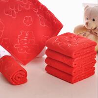 婚庆用品红 色磨毛压花毛巾 结婚礼品细纤维小方巾 红色