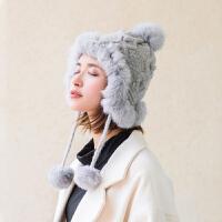 兔毛帽子女冬韩版潮日系百搭加厚保暖护耳冬天针织加绒纯色毛线帽