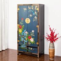 新中式全实木家用卧室双门大衣橱转角整体立柜简易木质衣柜定制 2门