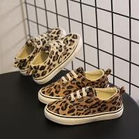 儿童帆布鞋女童豹纹板鞋布鞋球鞋
