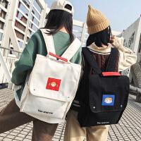 日版古着感少女书包女 双肩包大学生韩国森系学院bf风帆布ins背包