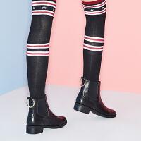 【 限时4折】哈森旗下爱旅儿新品拼接切尔西靴军靴环型饰扣短靴EA71510