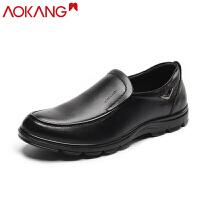 AOKANG奥康男士皮鞋圆头套脚头层牛皮(除牛反绒)商务休闲鞋