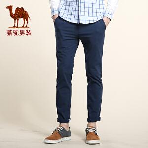 骆驼男装 春季新款中弹中腰棉质纯色休闲裤 商务休闲直筒长裤