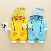 男女宝宝0一1岁秋冬装网红婴儿加厚连体衣服保暖幼儿冬季外出抱衣