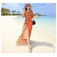 时尚休闲长裙 新款碎花雪纺露肩开叉波西米亚长裙性感海边度假沙滩裙显瘦