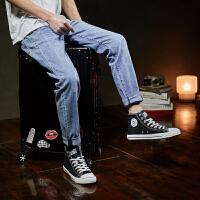 【2件2.5折】唐狮夏季新款牛仔裤男士修身薄款水洗牛仔长裤韩版潮流