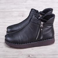 女靴2018冬季新款短靴女平底妈妈棉鞋女加绒保暖软底休闲棉靴