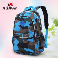 瑞牌中小学生书包女3-6年级迷彩印花双肩包 男 儿童书包旅行背包