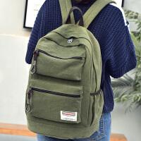 韩版潮帆布双肩包男女士英伦复古休闲高中学生书包大容量旅行背包