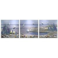 沙发背景墙装饰画现代简约三联温馨客厅墙上挂画餐厅壁画3D浮雕画 60*60厘米*3片(新款) 22mm厚板/25m