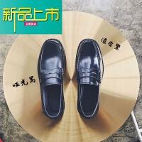 新品上市@韩桥~18秋冬男士新款韩版低帮套脚皮鞋亮皮小皮鞋鞋男潮