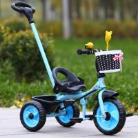 儿童三轮车自行车脚踏车宝宝玩具车/婴幼儿手推车1-3充气轮YW147 驼色 手推经典荧光蓝
