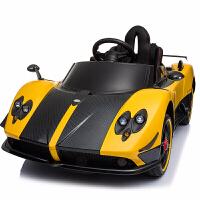 儿童电动车四轮汽车遥控玩具车可坐人小孩婴儿带遥控童车大 黄色【皮座椅便携拉杆防爆轮 电子转向四轮发光