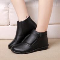 冬季妈妈中老年女鞋平底加绒短靴中年女靴老人鞋保暖防滑皮鞋 黑色