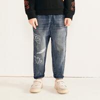 【2件2.5折:79元】马拉丁童装男童新款秋装个性印花牛仔裤时尚做旧磨毛长裤洋气